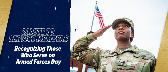 Salute to service members recognizing those who serve on Armed Forces Day