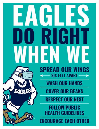 Eagles Do Right When We Spread Our Wings 6ft apart, Wash Our Hands, Cover Our Beaks, Respect, Our Nest, Follow Public Health Guidelines, and Encourage Each Other