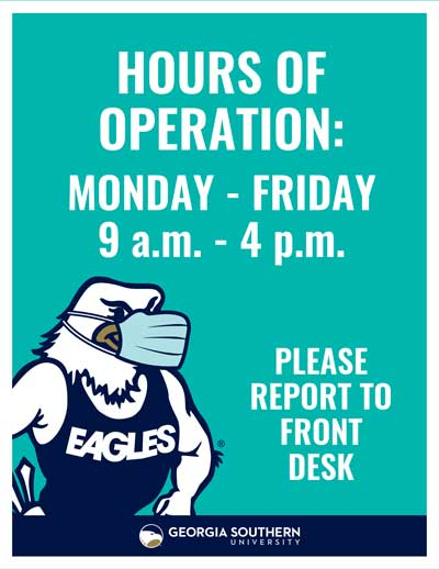 Hours of Operation; Please Report to the Front Desk