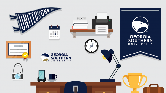download a zoom background of an illustrated office space with georgia southern academic swag on the walls