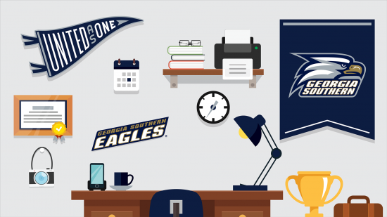 download a zoom background of an illustrated office space with georgia southern athletics swag on the walls