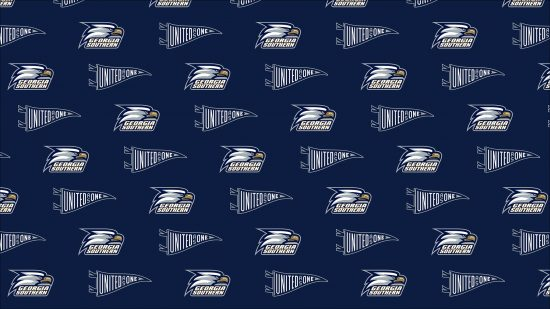 download a zoom background of tiled georgia southern athletics logo and a flag that says united as one
