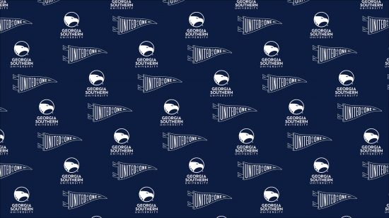 download a zoom background of tiled georgia southern logo and a flag that says united as one