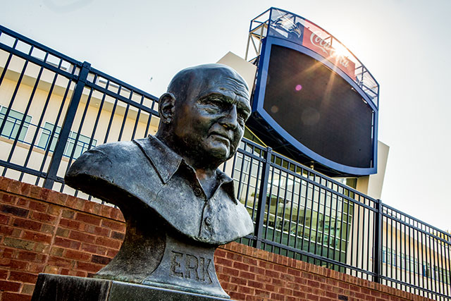 Bronze bust of legendary coach Erk Russell near players entrance at Paulson Stadium (Photo courtesy of Georgiasouthern.edu)