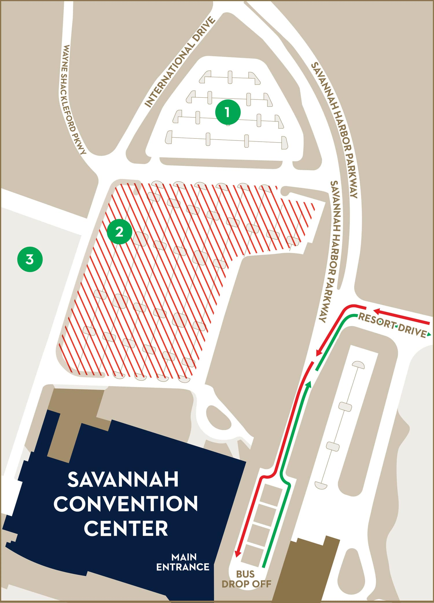 parking map of the convention center showing faculty and staff parking to the west side, graduate and guest parking to the north, and ada accessible parking and entrance to the east side of the convention center