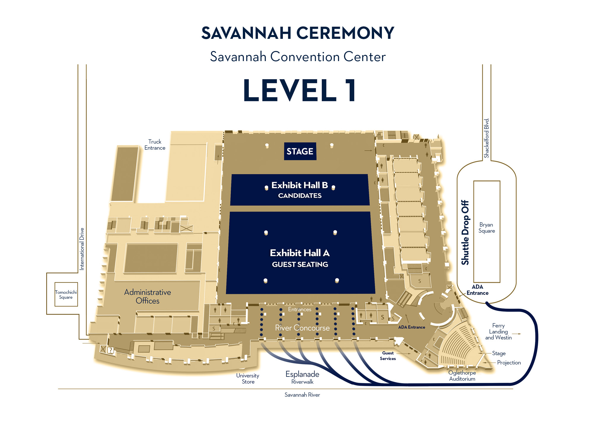 savannah ceremony, savannah convention center, level 1, Exhibit B near stage, Exhibit A and ADA seating in the rear