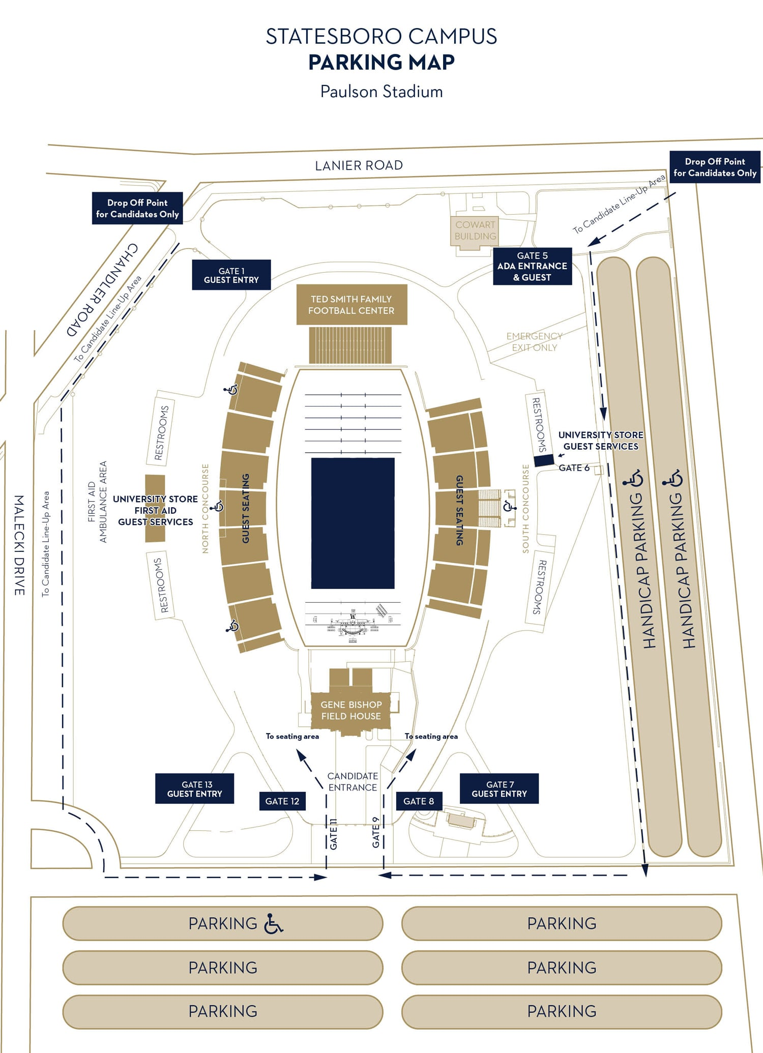 parking map for paulson stadium showing parking spaces available by the main entrance and handicap parking available on the south side of the stadium