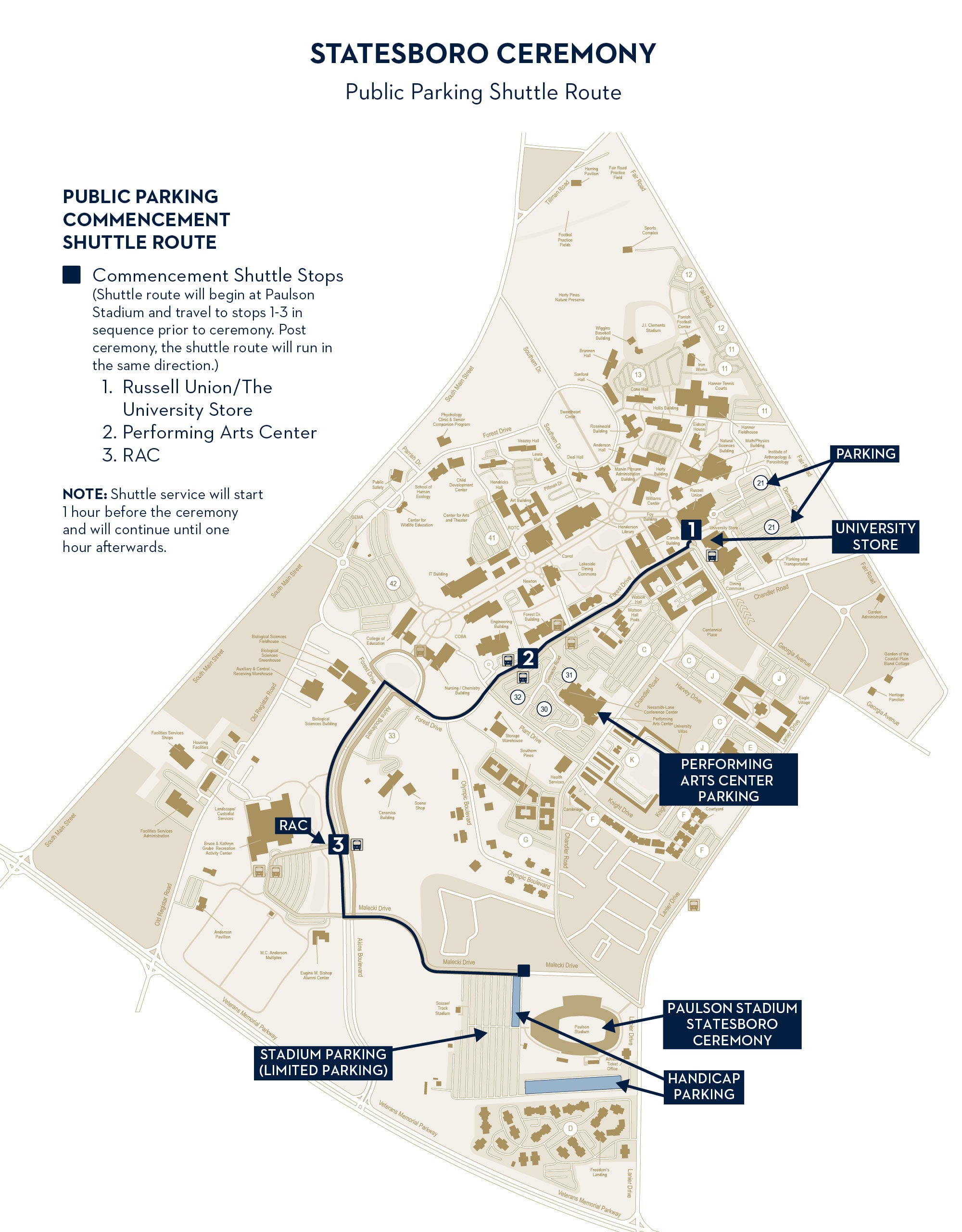 statesboro campus shuttle route and map showing three shuttle stops at the russell union, engineering building, and the rac